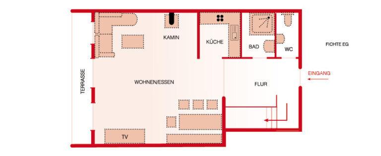 Grundriss EG - Wohnung Fichte