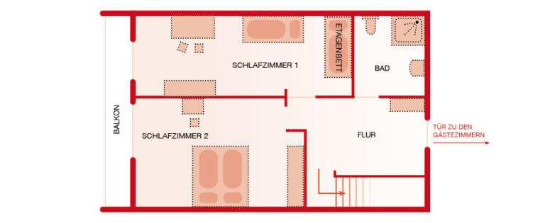 Grundriss OG - Wohnung Fichte