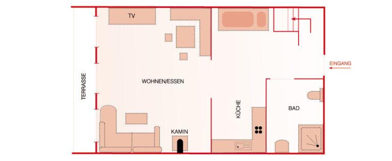 Grundriss EG - Wohnung Lärche