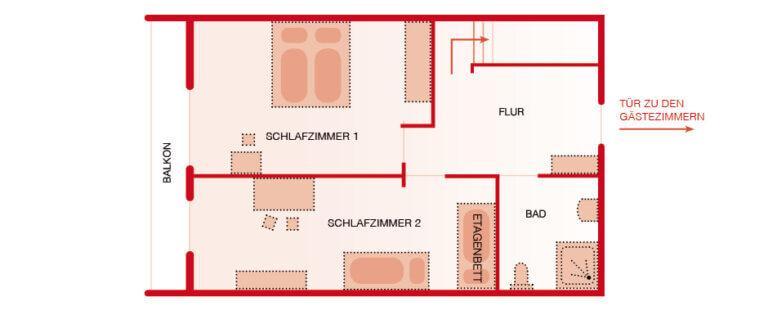 Grundriss OG - Wohnung Lärche